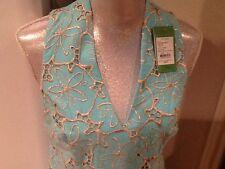 LILLY PULITZER ESTRELLA METALLIC SANDDOLLAR EYELET SHIFT DRESS BLUE $298 NWT 8