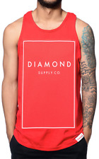 Diamond Supply Co Mens Tank Top Shirt BOXED IN Skate RED WHT Streetwear L-XL $30