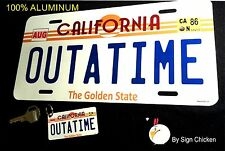 Back to the Future / Delorean / OUTATIME LICENSE PLATE with  **KEY CHAIN**