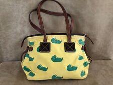 Dooney & Bourke Duck logo yellow green canvas purse handbag and satchel vintage