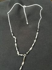 Premier Designs Jewelry Silver Plated Necklace ~ Slate Drop Pendant Beads