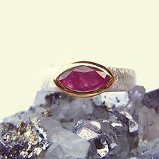 SCHMUCK-STCK RING RUBIN 925 Silber 18 57 NEU FACETTEN vergoldet Navette