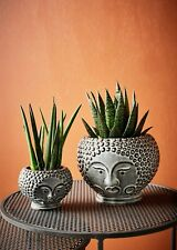 1 Small Grey / Black Round Plant Pot Face Head Design, Ceramic Planter Vase