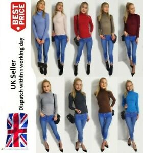 Womens Ladies RIBBED Polo Neck Roll Neck Top Turtle Neck Plain Jumper 8-26 UK