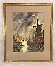 Watercolor Dutch Scene Painting  Attributed to Paul Swimmery Sr Windmill & Port