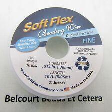 Soft Flex .014 (.36mm) 10 Feet (3.05 Meters) Satin Silver 21 Strands Made:  USA