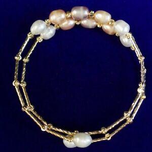 Natural Pearl Shell Tibetan Silver Freeform 2 Circle Adjustable Bracelet D08256
