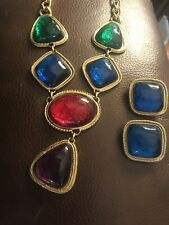 Kenneth Jay Lane for Avon Multicolor Cabochon Necklace and Earring Set