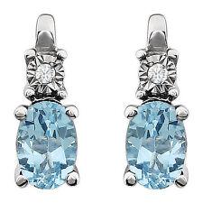 Genuine Sky Blue Topaz Oval Cut Gems & Diamonds Post Earrings in 14K White Gold