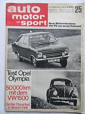 Auto Motor Sport 25/1967, Test: Opel Olympia, VW 1500