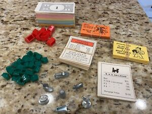 VINTAGE 1961 REPLACEMENT PIECES FOR MONOPOLY ~  7 TOKENS ~ HOUSES ~ CARDS ~ CASH