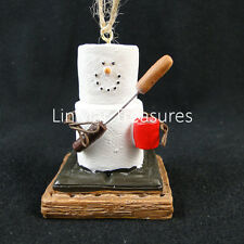 S'mores Campfire Ornament Roasting Hot Dogs Holding Cup of Coffee Midwest CBK
