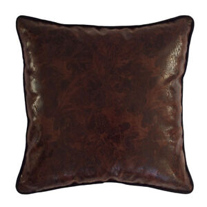 Faux Artificial Leather Dark Brown Snake Pattern 18x18 Square Deco Pillow Cover