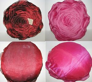 NEW-BURGANDY RED ROSE,FUCHSIA PINK RUFFLE LAYER ROUND DECORATIVE PILLOW