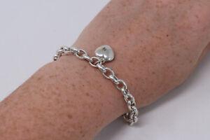 Very Lovely Vintage Sterling Silver 925 Heart Charm Bracelet 17.7g #310