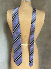 ZEGNA SILK Striped NECKTIE Tie PURPLE DIAGONAL STRIPE Italy Ermenegildo