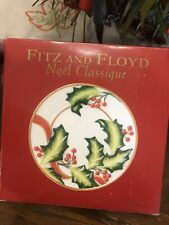 "Fitz and Floyd Holly Leaf ""Noel Classique"" Canape Plate New in Original Box"