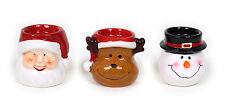 3er Set Teelichthalter aus Keramik / Weihnachtsmann + Rentier + Schneemann