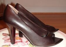 JIL SANDER ELEGANT BROWN LEATHER WOMEN'S SHOES sz. 8 M MADE IN ITALY