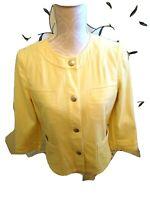 Sigrid Olsen Women's Jacket/Blazer Cotton Snap Front Long Sleeve Yellow Size 8