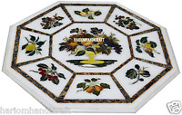 """24"""" White Marble Coffee Table Top Rare Gems Inlay Marquetry Work Art Decor H2983"""