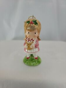 Vintage Joan Walsh Anglund Ceramic Girl With Bag Of Candy Canes Ornament 1982