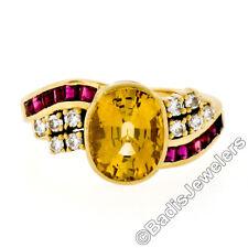 Vintage Retro 18K Gold 3.65ct Bezel GIA Yellow Sapphire w/ Diamond & Ruby Ring