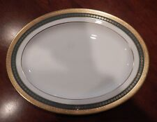 """MINTON """"IMPERIAL GOLD"""" PATTERN GREEN W/GOLD BAND OVAL SERVING PLATTER 16 1/2"""""""
