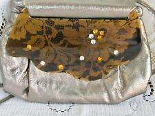 PATRICIA SMITH MOON BAG 1984 SILVER LEATHER BAG BLACK GOLD LACE GEM JEWEL FRONT
