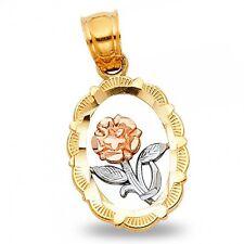 White Rose Gold Flower Medal Charm Oval Rose Frame Pendant Solid 14k Yellow