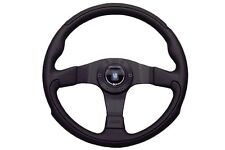 Nardi Leader Steering Wheel - 350mm - Black Perforated Leather with Black Spokes