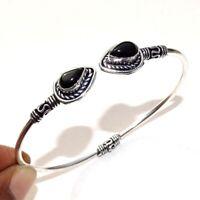 925 Sterling Silver Plated Black Onyx Bangle Cuff Bracelet Jewelry DF16
