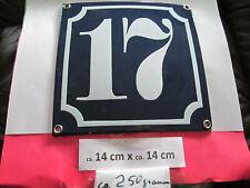 Hausnummer Emaille Nr. 17 weisse Zahl auf blauem Hintergrund 14 cm x 14 cm #