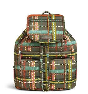 NWT Vera Bradley Midtown Cargo Performance Twill Backpack City Plaid Grays $108