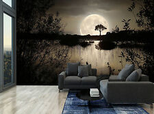 Dark Forest Night Trees Moon Lake Wall Mural Photo Wallpaper GIANT WALL DECOR