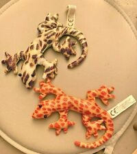 """Set of 2 Sand Filled Lizard Gecko Toys ornaments/toys (Sand Critters?) approx 6"""""""