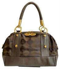 Authentic MCM Princess Lion Dark Brown Canvas Leather Medium Satchel Bag