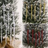 12Pcs Christmas Tree Icicle Hanging Ornaments Family Xmas Party DIY Decoration