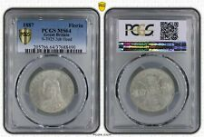 Great Britain PCGS MS 64 1887 Florin BU Silver Unc Coin Victoria Jubilee Head