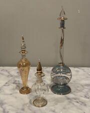 3 Hand Blown Glass Perfume Bottles