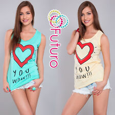 Women's Casual Vest Top Heart Print 100% Cotton Party T-Shirt Sizes 8-14 B16