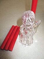 """NEW 4"""" Clear CRYSTAL CUT Class MIKASA Sweet ANGEL Candle Holder & 4 Red Candles"""