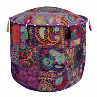Round Pouf Ottoman Cover Bohemian Vintage Patchwork Indian Pouffe Foot Stool
