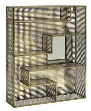 BRAN, Regal mit Spiegel,  Metall Goldfinish, Industriedesign, Shabby Chic