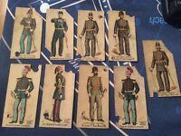 NINE Kinney Bros Cigarette Cards Military & Naval uniforms