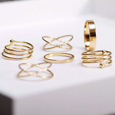 New 6Pcs/Set Midi Above Knuckle Ring Band Gold Plated Tip Finger Stacking
