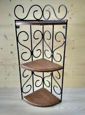 Mensola angoliera in ferro battuto e legno stile rustico nero/noce antico