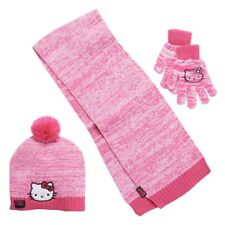 HELLO KITTY Girls 3 Pc Hat Scarf & Glove Cold Weather Set NWT Pink Size 4-16