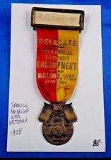 1924 Spanish American War Veteran 25th Annual Encampment Delegate Medal Ribbon