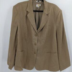 Women's TALBOTS Tan Irish Linen Three Button Blazer Sz 20W